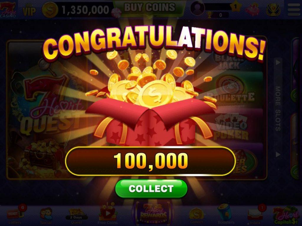 แอพ Vegas Slots - 7Heart Casino ที่มีสิทธิ์ที่จะได้รับเหรียญเป็นจำนวนมาก